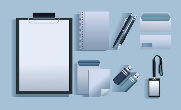 Pacchetto di sette elementi di branding icone illustrazione