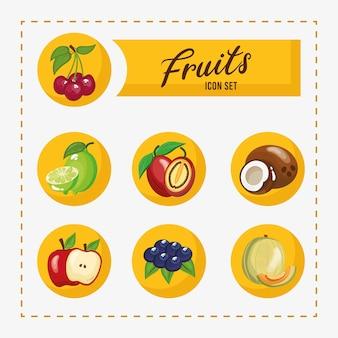 Pacchetto di sette frutti freschi impostare icone e lettering illustrazione design
