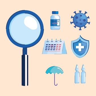 Pacchetto di sette vaccini impostare icone illustrazione