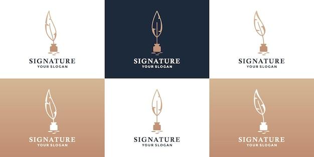 Design del logo della penna piuma della firma del pacchetto con colore dorato