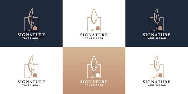 Design del logo della firma del pacchetto. penna piuma, cornice simbolo logo cancelleria