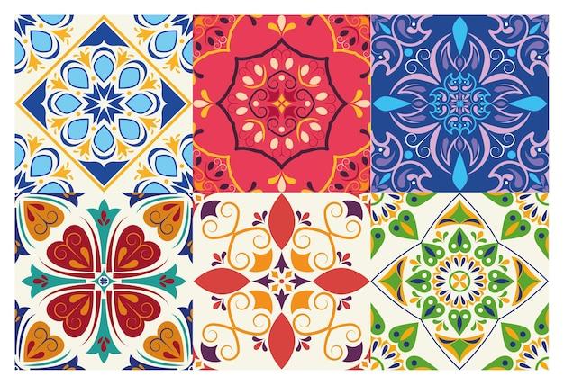 Fascio di sei fondali in ceramica artistica italiana