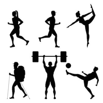 Fascio di sei atleti che praticano disegno di illustrazione di sagome nere di sport