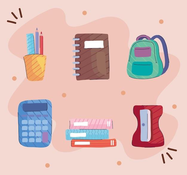 Un pacchetto di sei torna a scuola imposta icone illustrazione