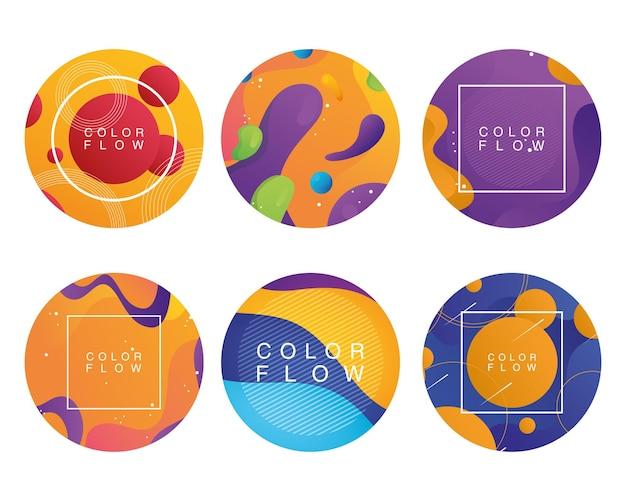 Fascio di sei sfondi di flusso di colore