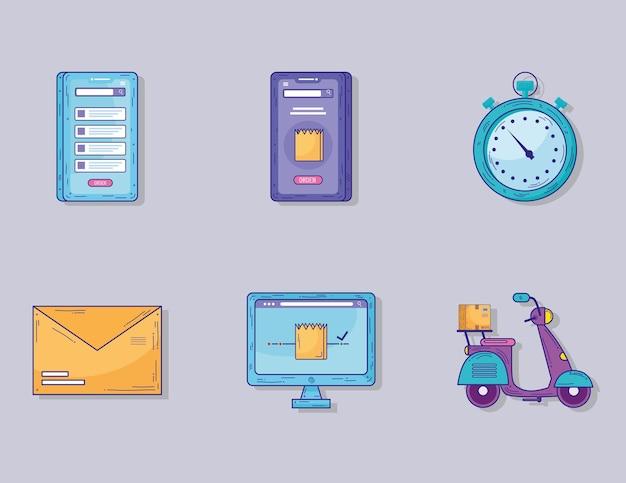 Un pacchetto di sei servizi di consegna imposta icone illustrazione design