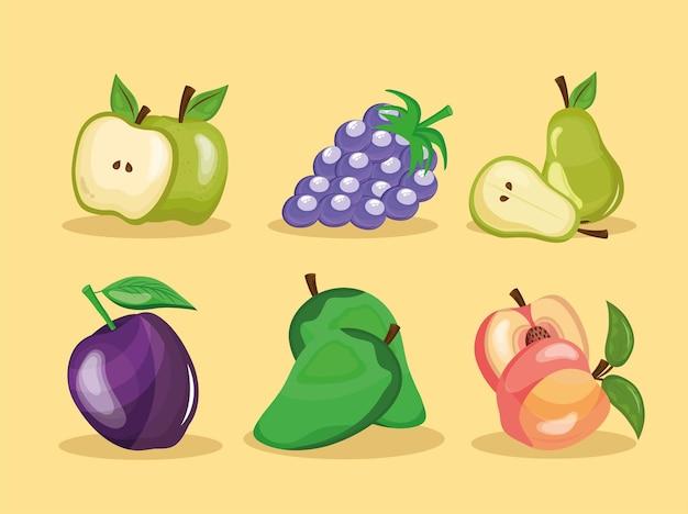 Un pacchetto di sei frutti freschi impostare icone illustrazione design