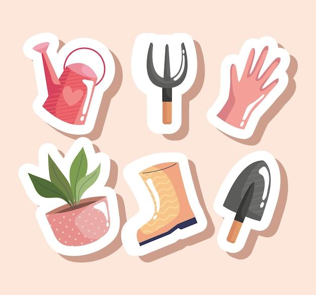 Pacchetto di sei strumenti di giardinaggio icone illustrazione vettoriale design