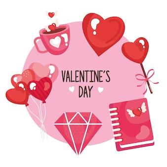 Un pacchetto di sei felice giorno di san valentino impostare le icone intorno all'illustrazione dell'iscrizione