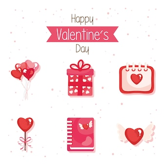 Un pacchetto di sei icone stabilite di giorno di biglietti di s. valentino felici