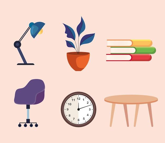 Pacchetto di sei icone di set di mobili per la casa e l'ufficio