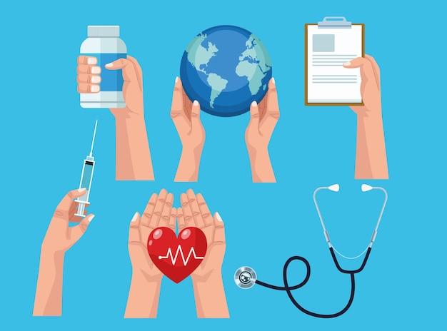 Pacchetto di sei set di elementi medici