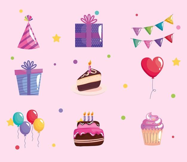 Pacchetto di sei set di icone di celebrazione di compleanno di festa
