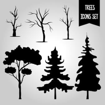 Pacchetto di sei alberi foresta silhouette icone di stile e scritte in uno sfondo grigio.