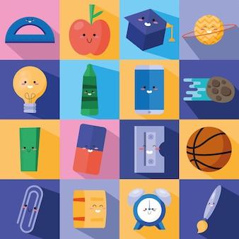 Pacchetto di sedici personaggi per il ritorno a scuola kawaii