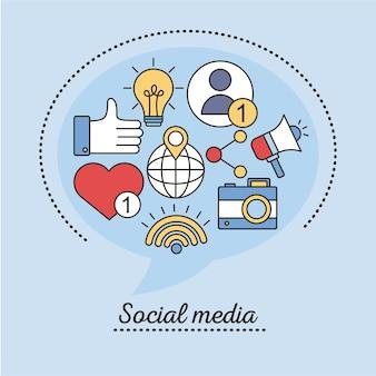 Pacchetto di social media imposta le icone di stile di linea e di riempimento nel disegno blu dell'illustrazione