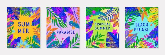 Pacchetto di illustrazioni vettoriali estive con foglie, fiori ed elementi tropicali. piante multicolori con texture disegnate a mano. sfondi esotici perfetti per stampe, volantini, striscioni, inviti, social media.