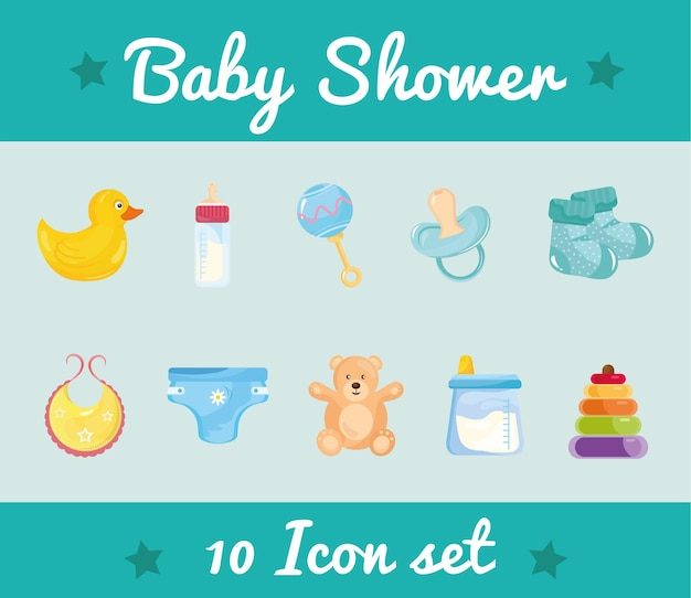 Pacchetto di dieci baby shower imposta icone e scritte