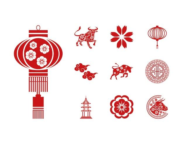 Un pacchetto di dieci illustrazione stabilita delle icone del nuovo anno cinese