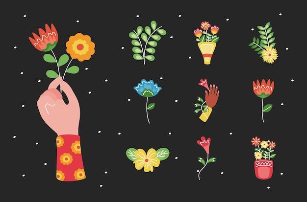 Pacchetto di dieci decorazioni floreali impostare icone illustrazione