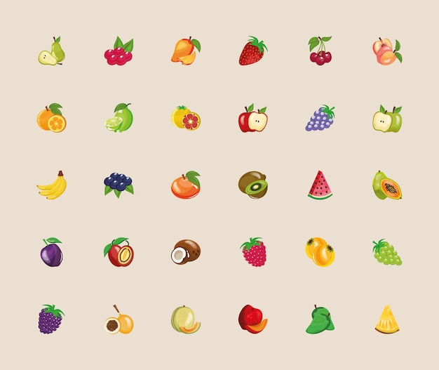 Fascio di trenta frutti freschi impostare icone illustrazione design