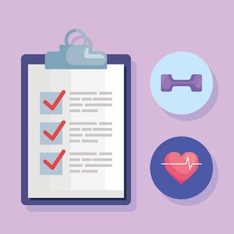 Un pacchetto di tre stile di vita fitness impostare icone illustrazione design