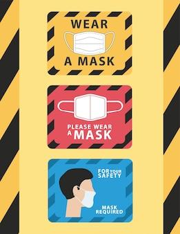 Un pacchetto di tre mascherine da indossare pubblicizza etichette