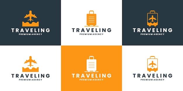 Pacchetto viaggio logo design vector