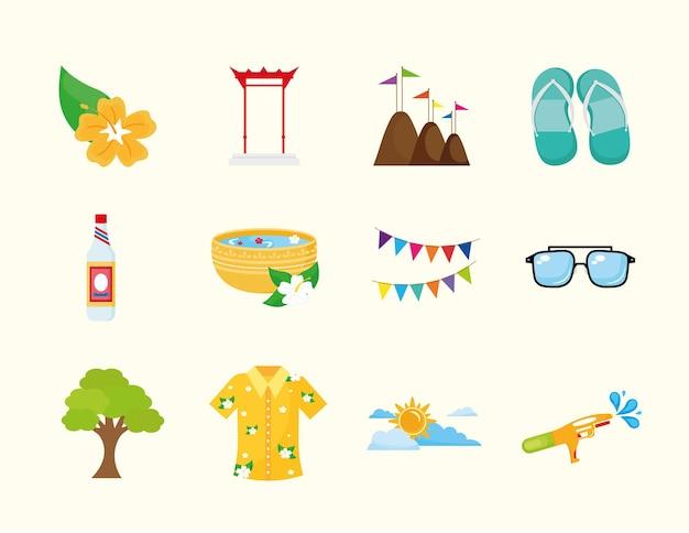 Un pacchetto di dodici songkran festival impostare icone illustrazione