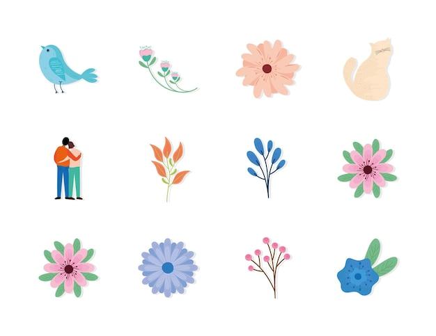 Pacchetto di dodici stagione primaverile imposta icone illustrazione