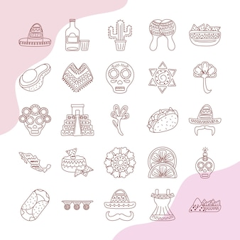 Pacchetto di venticinque etnia messicana set di icone di raccolta