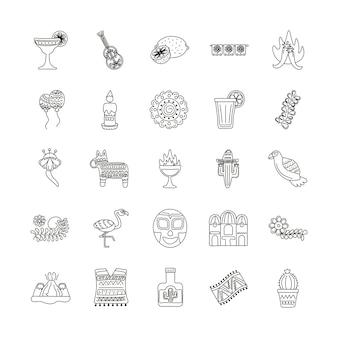 Pacchetto di venticinque set di icone di etnia messicana