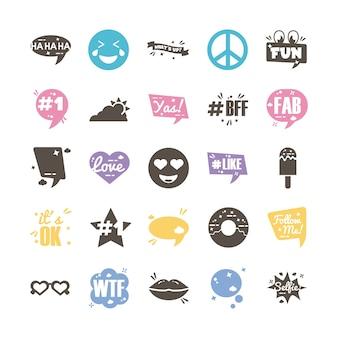 Pacchetto di venticinque slang set di icone di raccolta
