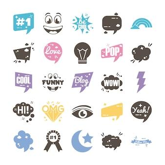 Pacchetto di venticinque slang impostare le icone
