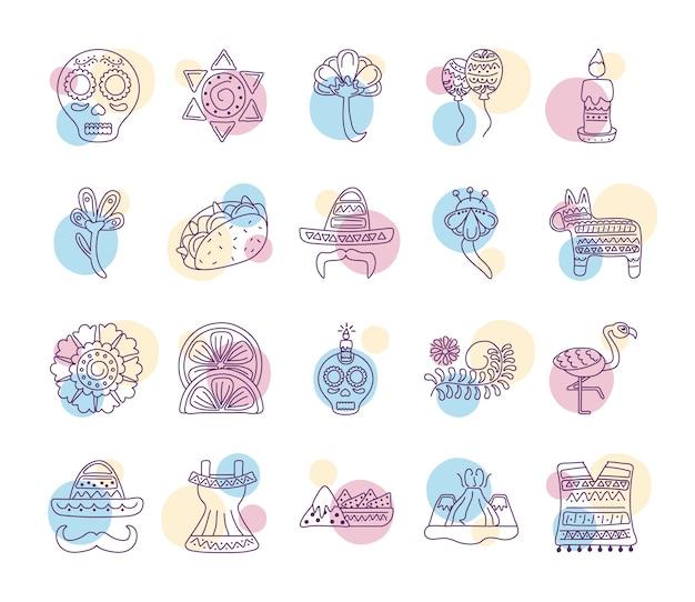 Pacchetto di venti icone di etnia messicana