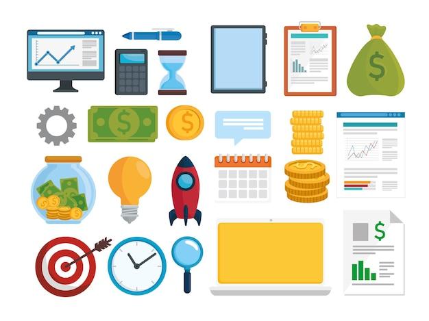 Pacchetto di ventitré set di icone di analisi di vendita e finanza