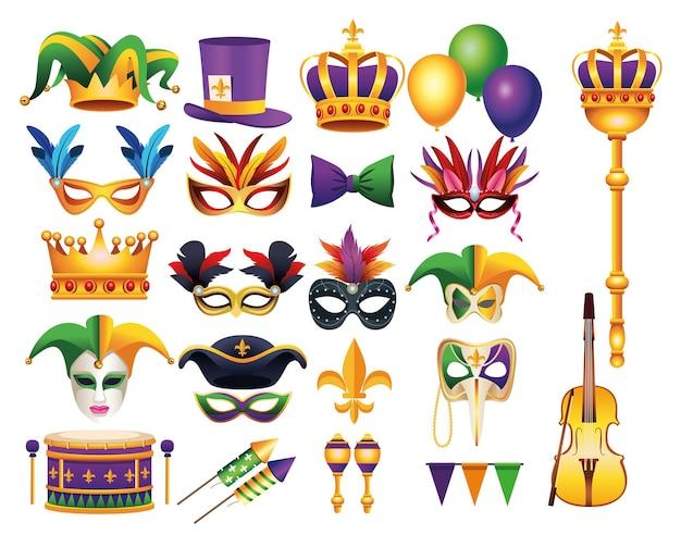 Un pacchetto di ventidue mardi gras festa di carnevale imposta icone illustrazione