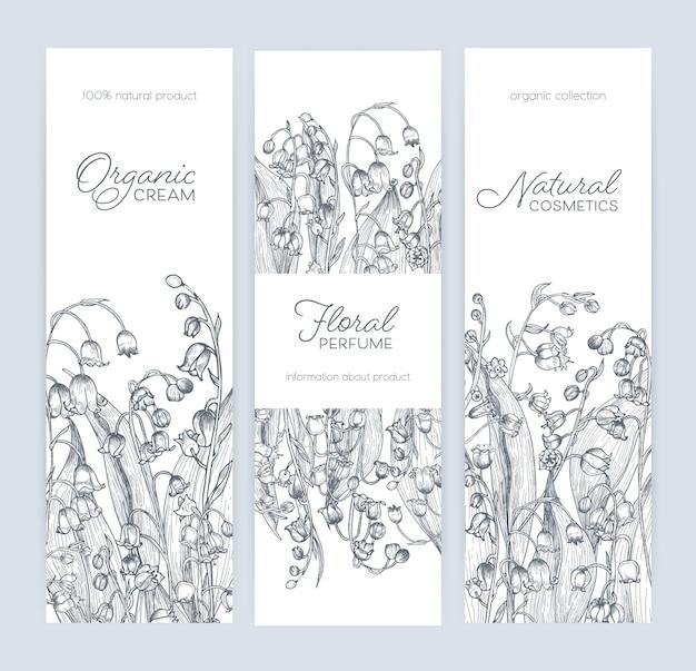 Pacchetto di modelli di banner, etichette o tag verticali con splendidi fiori di mughetto nei boschi