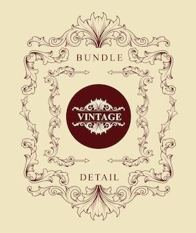 Bundle di vintage incisione ornamenti classic