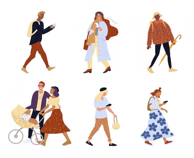 Gruppo di persone che camminano carattere isolato famiglia
