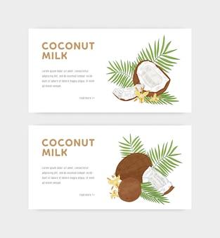 Pacchetto di modelli di banner web per latte di cocco con noci di cocco, fiori e rami di palma. delizioso prodotto biologico. disegnato a mano