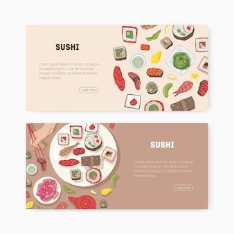 Pacchetto di modelli di banner web con cibo giapponese e mani che tengono sushi, sashimi, panini con le bacchette e posto per il testo. illustrazione vettoriale per la promozione del ristorante asiatico, pubblicità.