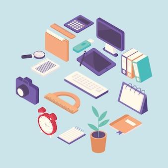 Fascio di illustrazione degli elementi dell'attrezzatura del posto di lavoro