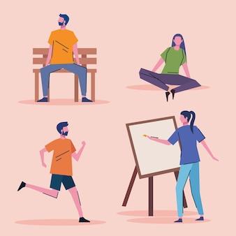 Pacchetto di giovani che praticano attività caratteri illustrazione vettoriale design