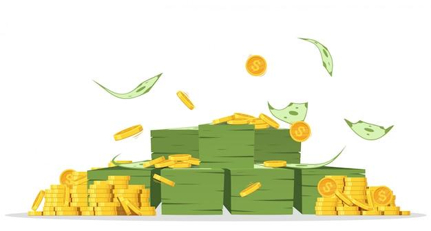 Fasci di denaro con un sacco di monete e banconote volanti.