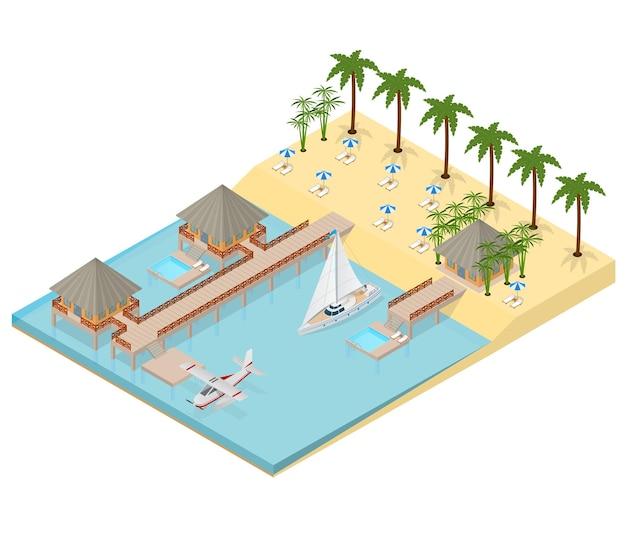 Bungalow sulla vista isometrica della costa del mare viaggio estivo paradiso tropicale turismo romantico. illustrazione vettoriale