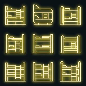 Set di icone del letto a castello. contorno set di icone vettoriali letto a castello colore neon su nero