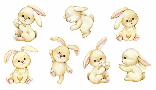 Coniglietti, animali acquerello, in stile cartone animato. insieme dei conigli.