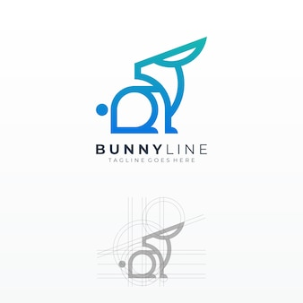 Logo bunny colorful line art grid shape