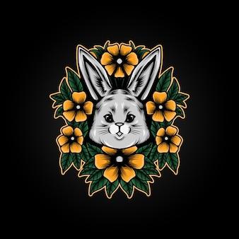 Coniglietto di illustrazione di fiori